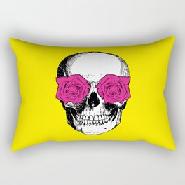 Skull and Roses   Yellow and Pink Rectangular Pillow