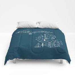 Michigan Up North Navy Collage Comforters