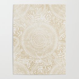 Medallion Pattern in Pale Tan Poster