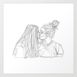 Girls kiss too Art Print