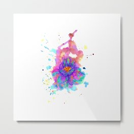Colorful Watercolor Flower Metal Print