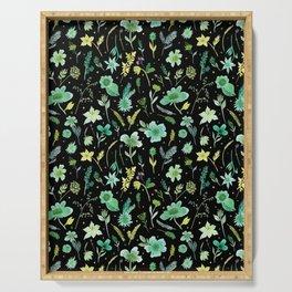 Verdant Flowers on Black Background Serving Tray