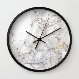Champagne Rose Gold Blush Metallic Glitter Foil On Gray Marble Wall Clock