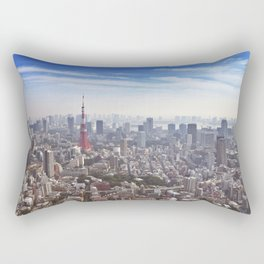 Skyline of Tokyo, Japan with the Tokyo Tower, from above Rectangular Pillow