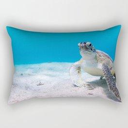 Turtle at the bottom of the Atlantic Ocean Rectangular Pillow