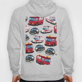 Fire, Police and Ambulance toy car pattern Hoody