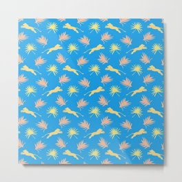 Wild African lions, exotic tropical plants ethnic tribal retro vintage blue nature pattern Metal Print