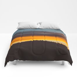 Mountain Hill With Trees Orange And Blue Sunset Clouds Comforters
