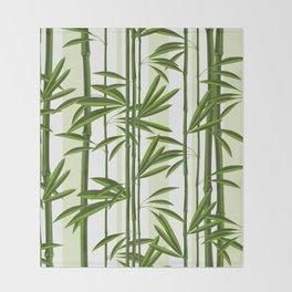 Green bamboo tree shoots pattern Throw Blanket