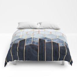 Soft Blue Hexagons Comforters