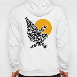 Great horned owl tribal tattoo Hoody