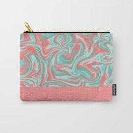 Liquid Swirl - Peach and Green Carry-All Pouch