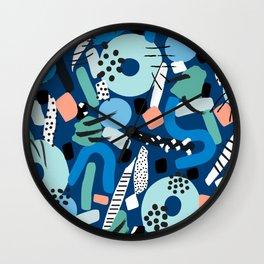 CIRCLES IN MOTION - GREEN/ BLUE brush stroke Wall Clock