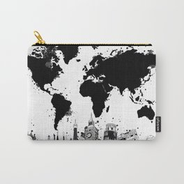 world map city skyline 4 Carry-All Pouch
