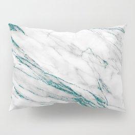 Gray Marble Aqua Teal Metallic Glitter Foil Style Pillow Sham