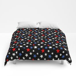 Bold Patriotic Stars In Red White and Blue on Black Comforters