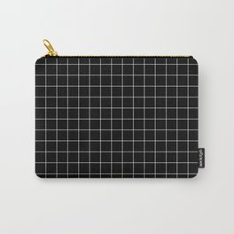 Large White Grid on Black Carry-All Pouch