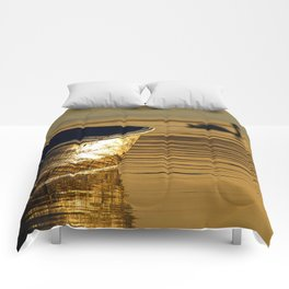 Rowing boat and swan sunset reflections Comforters