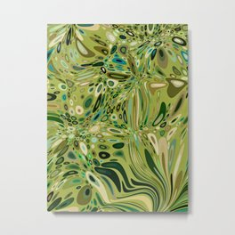 SOYLENT textured abstract in shades of green - lime to emerald Metal Print