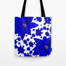 Poinsettia Blue Indigo Pattern Tote Bag