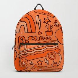 Orange Print Backpack