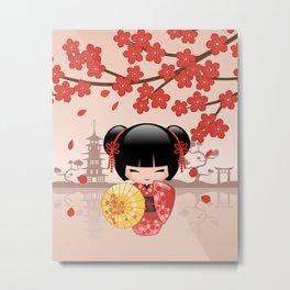 Japanese Red Sakura Kokeshi Doll Metal Print