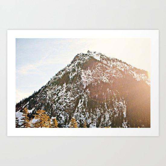 Snowy Mountain Peak in the Sun Art Print