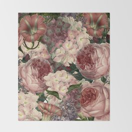 Vintage & Shabby Chic Pink Dark Floral Roses Lilacs Flowers Watercolor Pattern Throw Blanket
