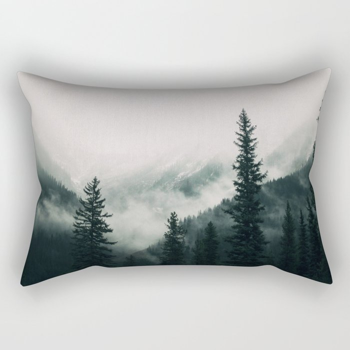 Over the Mountains and trough the Woods -  Forest Nature Photography Rectangular Pillow