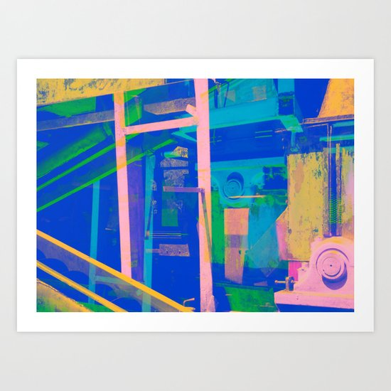 Industrial Abstract Blue 2 Art Print