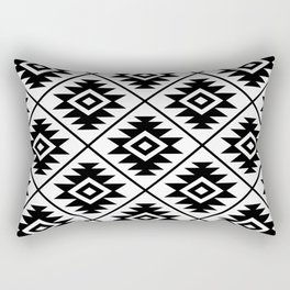 Aztec Symbol Pattern Black on White Rectangular Pillow
