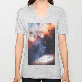 The astronaut attracted by a galaxy by GEN Z Unisex V-Neck