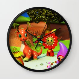 The Flowerdroplets and the Leafdragon Wall Clock