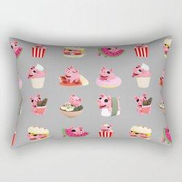 Rosa food collage grey Rectangular Pillow