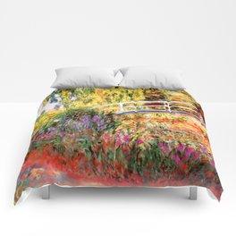 "Claude Monet ""Water lily pond, water irises"" Comforters"