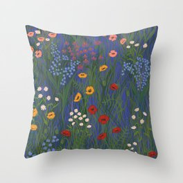 Meadow Floral Wildflowers Illustration Botanical Cottage Garden Flowers Nature Art Blue  Throw Pillow