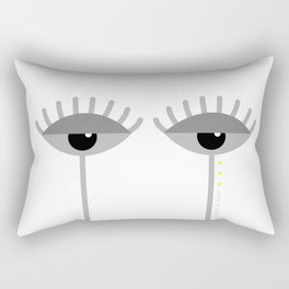 Unamused Eyes | Grey on White Rectangular Pillow