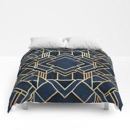 Art Deco Fancy Blue Comforters