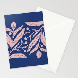 Pink floral motif on indigo blue Stationery Cards