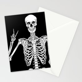 Human skeleton posing isolated over black background vector illustration Stationery Cards