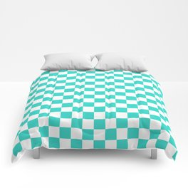 Small Checkered - White and Turquoise Comforters