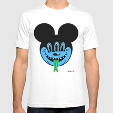 REPTILIAN MICKEYES. (Blue Face). Mens Fitted Tee White MEDIUM