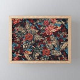 Deep moody floral watercolor - dark red,  rich dark blue and brown Framed Mini Art Print