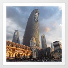 Monstre géants au dessus de la Gare de Lyon Art Print