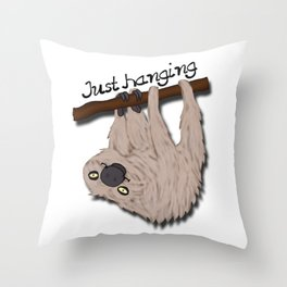 Sloth - just hanging Throw Pillow