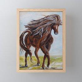Splashing the Light - Young Horse Framed Mini Art Print