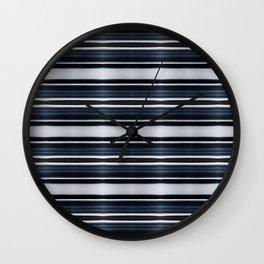 Deep Dark Blue and Silver Classy Stripes Wall Clock