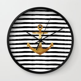 Anchor & Stripes - Gold / Black Wall Clock