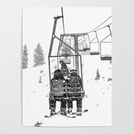 Snow Lift // Ski Chair Lift Colorado Mountains Black and White Snowboarding Vibes Photography Poster