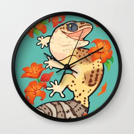 Fire lily gecko Wall Clock
